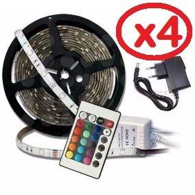 pack 4 cinta tira 300 led 5mt rgb control luces