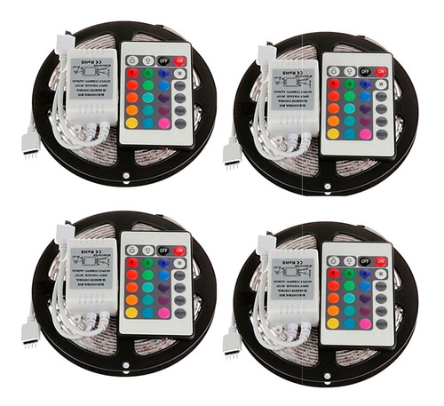 pack 4 cinta tira 300 led 5mt rgb control remoto 3528