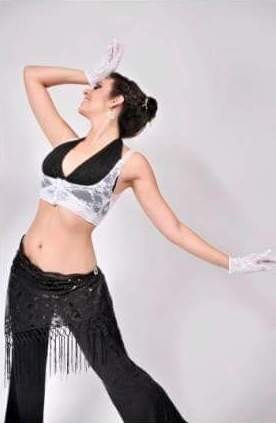 pack 4 conj. encaje top y guantes danza jazz belly dance