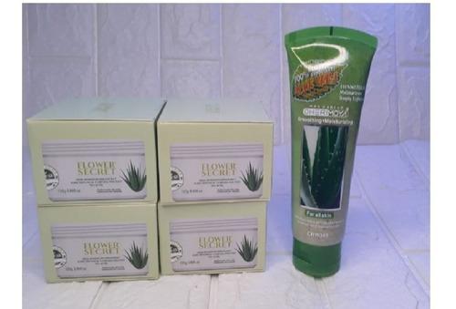 pack 4 crema aloe vera +exfoliante de regalo  manchas acne