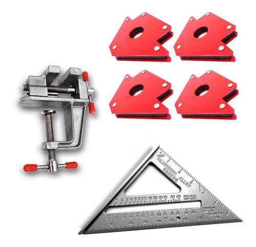 pack 4 esc. magneticas soldar 25 lbs + escuadra + mini torni