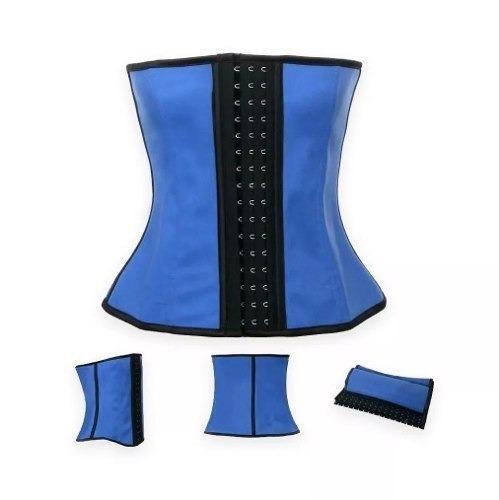 pack 4 faja corset cintura 4 huesos 3 ganchos reductora