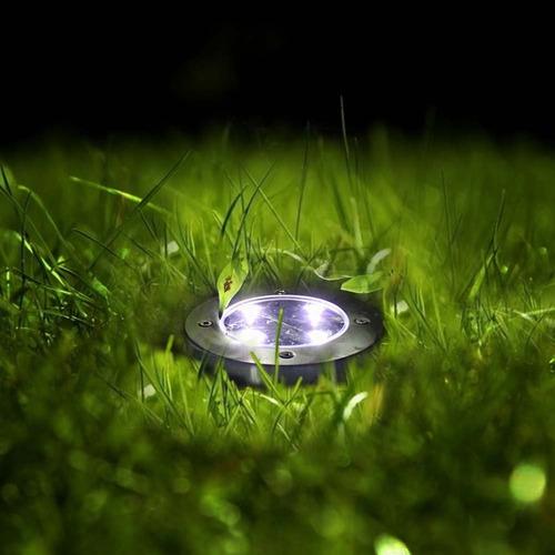 pack 4 luz foco solar estaca exterior tierra jardin 4 led