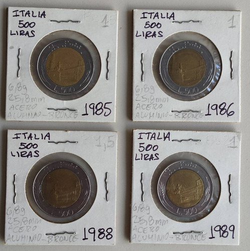 pack 4 monedas italia 500 liras 1985-86-88-89 au