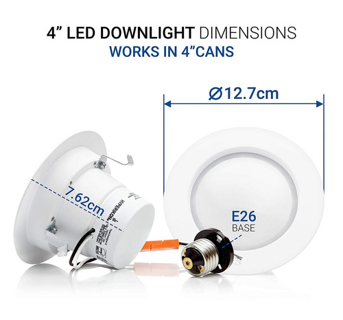 pack 4 panel led downlight empotrable regulable 9w 2700k