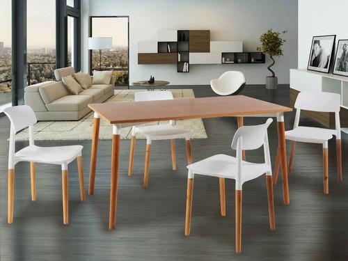 pack 4 sillas diseño escandinavo novara milan base madera