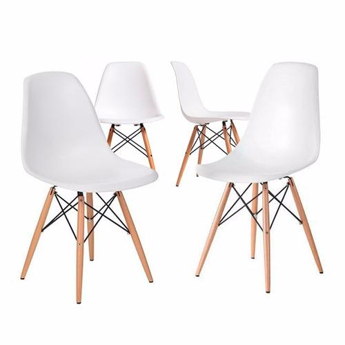 pack 4 sillas eames dsw color blanco, comedor, bar, negocio