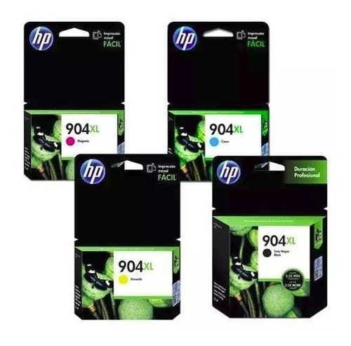 pack 4 tintas hp-904xl originales bcmy 6950 6960 6970 c/iva