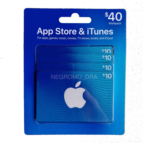 pack 4x códigos apple itunes / app store u$10 - total u$40