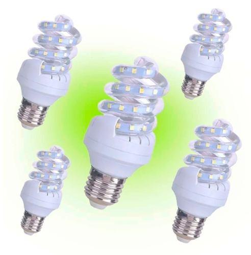 pack 5 ampolletas led espiral 5 w =  50w / hb led