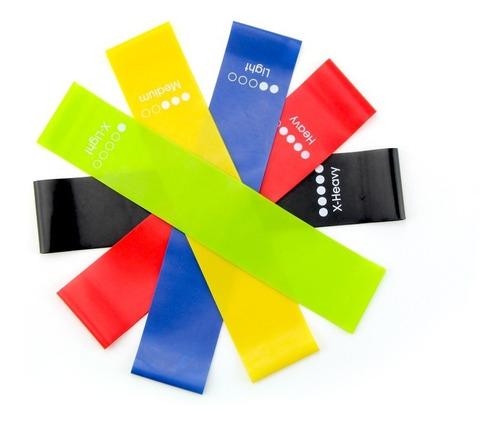 pack 5 bandas elásticas + bolso. stock disponible