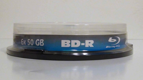 pack 5 discos blu ray bd-r dl 50gb doble capa imprimible 6x