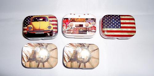 pack 5 mini cajitas metal uñetero diferentes estampados