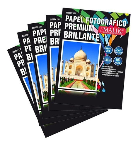 pack 5 papel fotografico glossy 135gr 500hojas a4