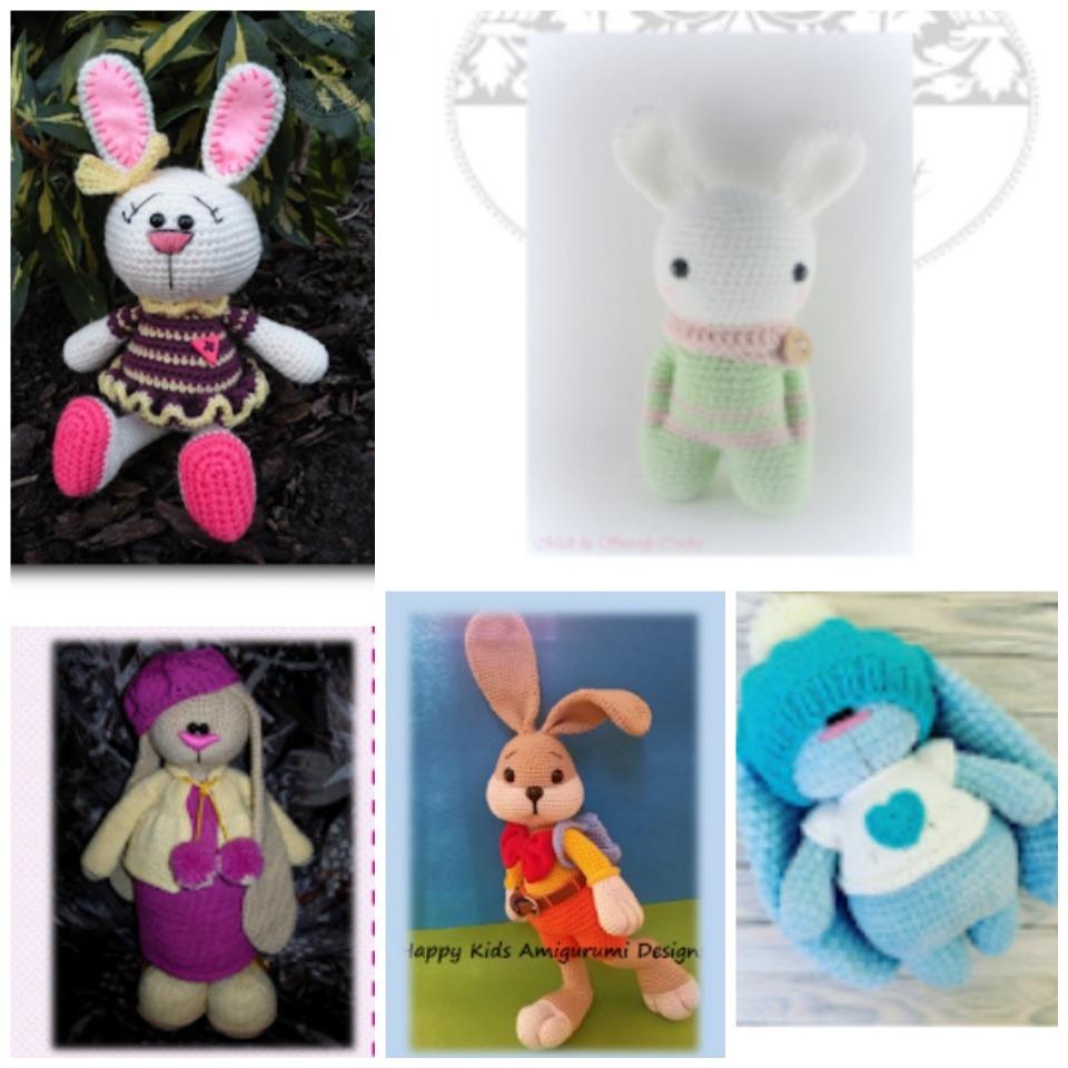 Pack 5 Patrones Amigurumis Conejos Crochet Ingles/español - $ 50,00 ...