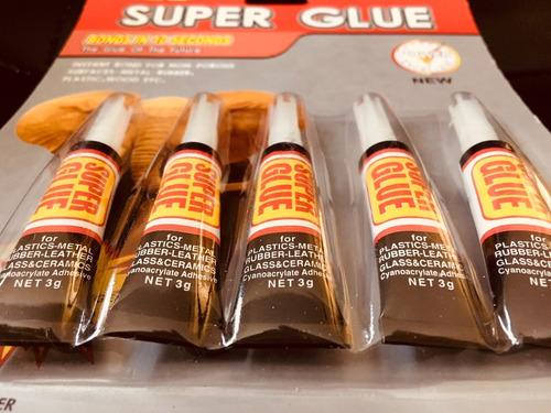 pack 5 potente pegamento tipo la gotita 3gr c/u - bigbull