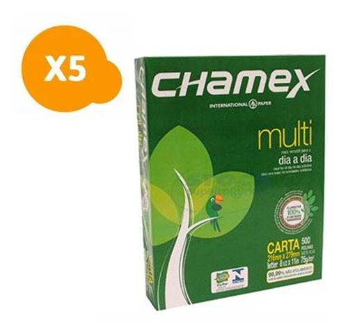 pack 5 resma de hojas tamaño carta 500 hojas chamex / c & s