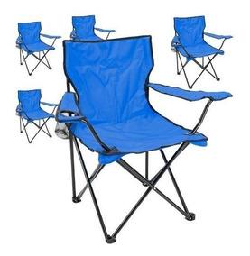 Porta Con Camping Silla Picnic Plegable Azul Pack 5 Vaso SMVUzp