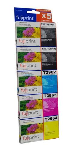 pack 5 tintas 296 297 2 negros y 1 de cada color  para epson