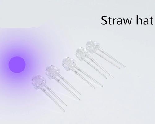 pack 50 led 5mm uv ultravioleta 4.8mm cabeza baja bombin