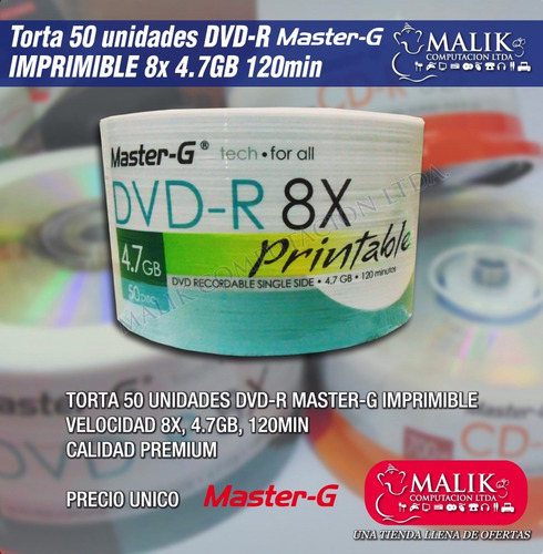 pack 50 uni. dvd-r 4.7gb 8x master-g imprimible full face