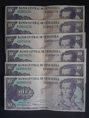 pack 6 billetes 10 bolivares 1980