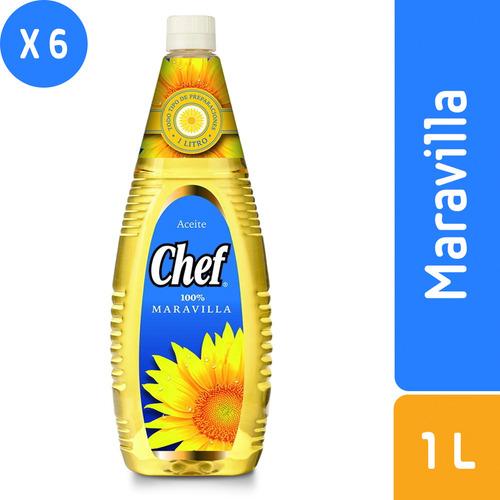 pack 6 - chef aceite maravilla 1 l