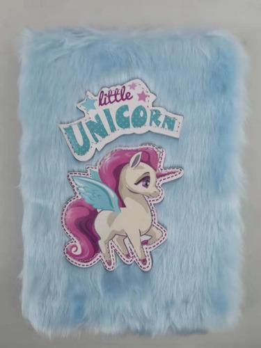 pack 6 cuadernos peludos unicornio, varios modelos.