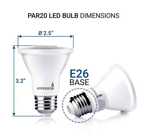 pack 6 focos led par 20 regulables hyperikon 8w 2700k