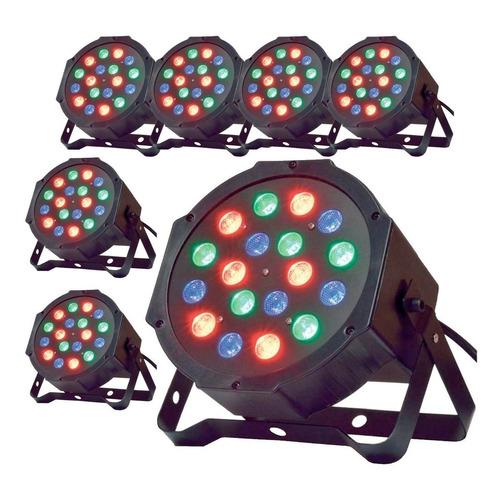 pack 6 focos par led 18 rgb dmx luces de fiesta