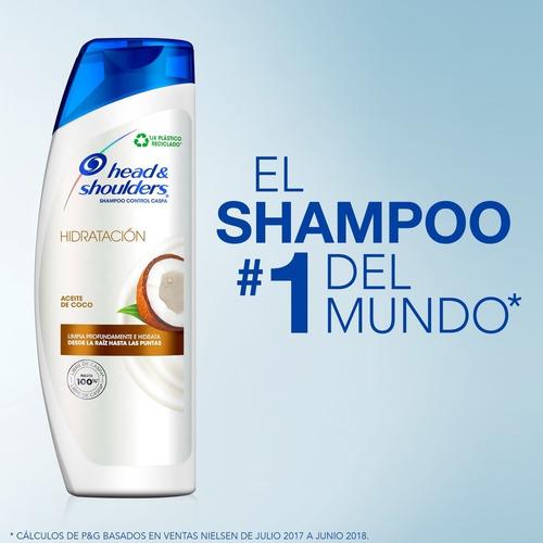 pack 6 shampoo head&shoulders hidratación aceite de coco 375