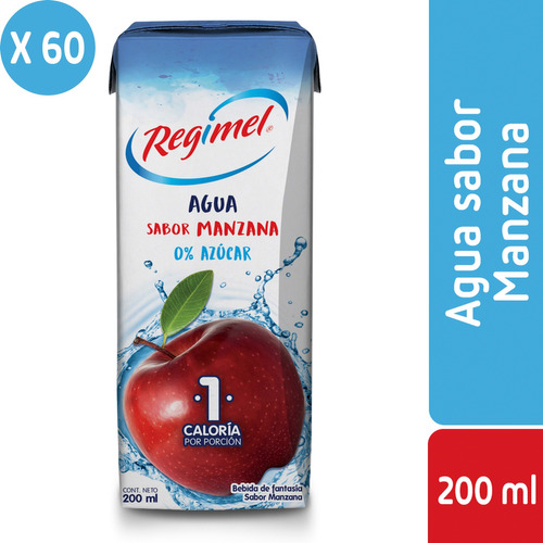 pack 60 - regimel agua sabor manzana 0% 200 ml