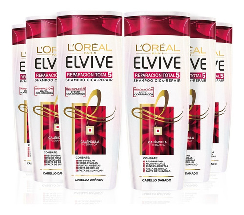 pack 6x shampoo elvive reparación total 5 l'oréal paris