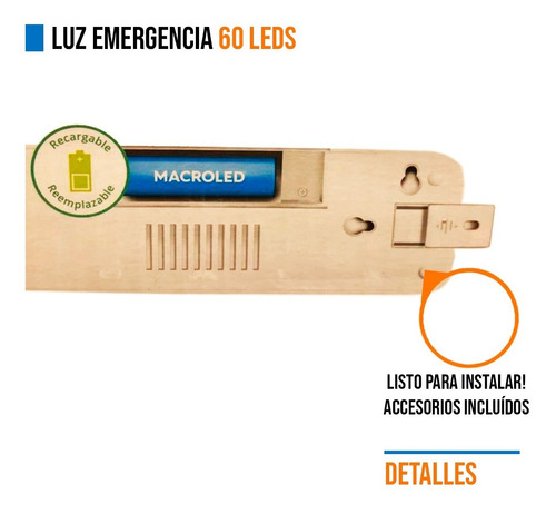 pack 8 luz emergencia 60 leds bateria recargable alta baja