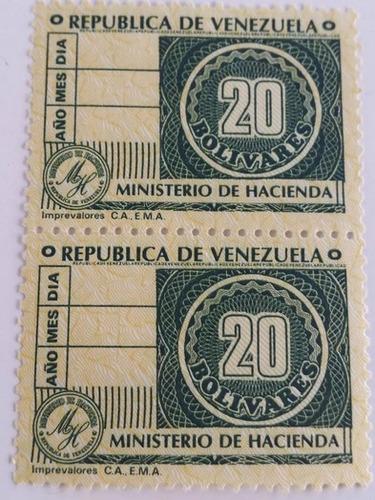 pack 8 sellos venezuela timbre fiscal 2, 5, 20,  bs