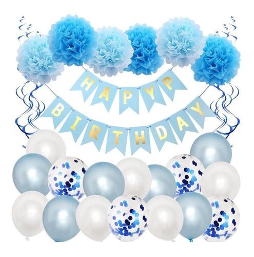 pack adornos para cumpleaños globos - ponpones - cartel