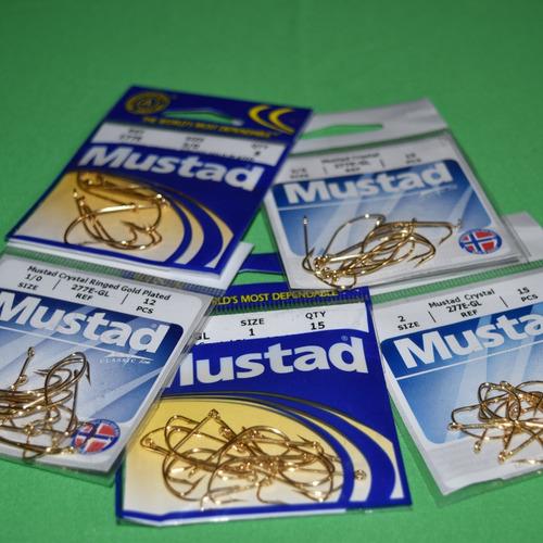 pack  anzuelos mustad modelo 277e - gl y 277e - 2; 1; 1/0 ;
