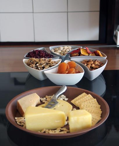 pack aperitivo bowl 3 divisiones + set circular 6 piezas