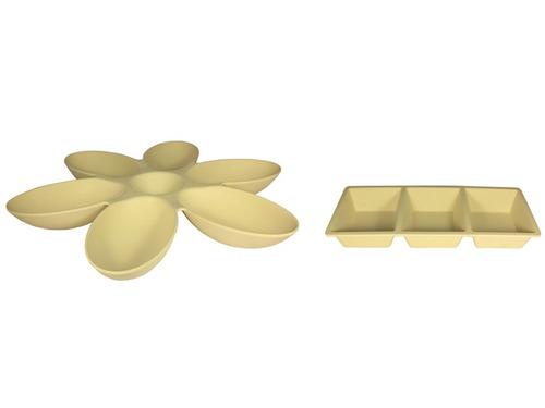 pack aperitivo plato flor + plato 3 divisiones, bambú+maíz