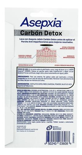 pack asepxia carbón detox 2 jabones barra + 12 parches