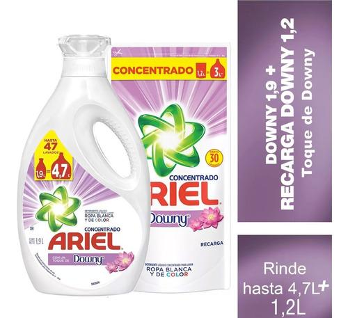 pack botella detergente ariel downy 1,9 lt + recarga 1,2lt