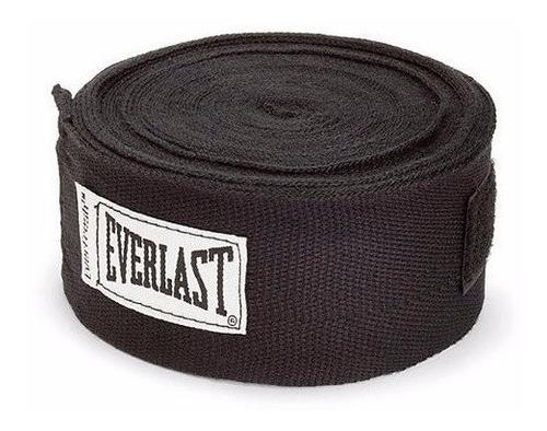 pack box - everlast - vendas algodón negro + protect+guante