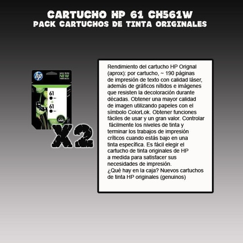 pack cartucho hp 61 negro