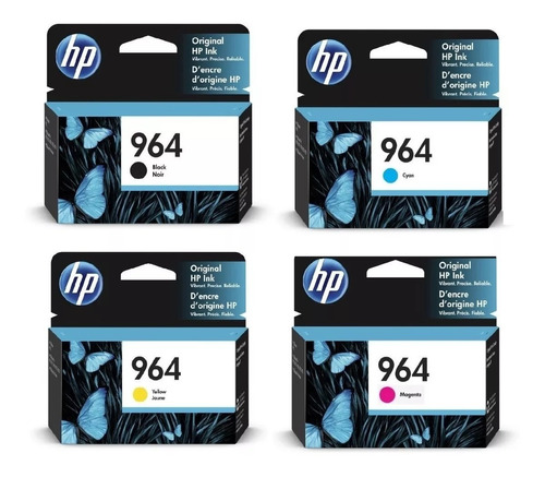 pack cartuchos hp 964 negro + 964colores officejet 9020 9010