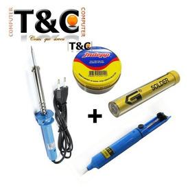Pack Cautin 30w+pasta Soldar+soldadura 1mm+extractor Soldadu