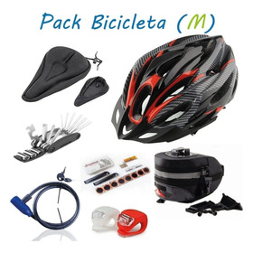 Pack Ciclismo, Mtb, Casco, Asiento Parches Bici, Bolso, Led