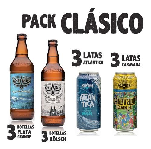 pack clásico 6 latas 473ml + 6 bot 500ml cerveza antares