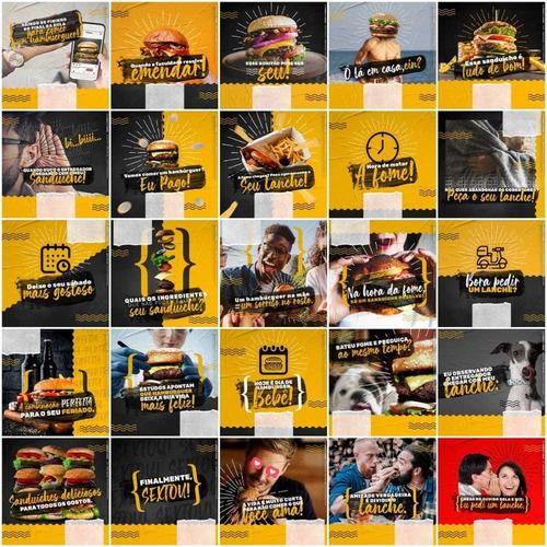 pack com 130 artes para hamburgueria