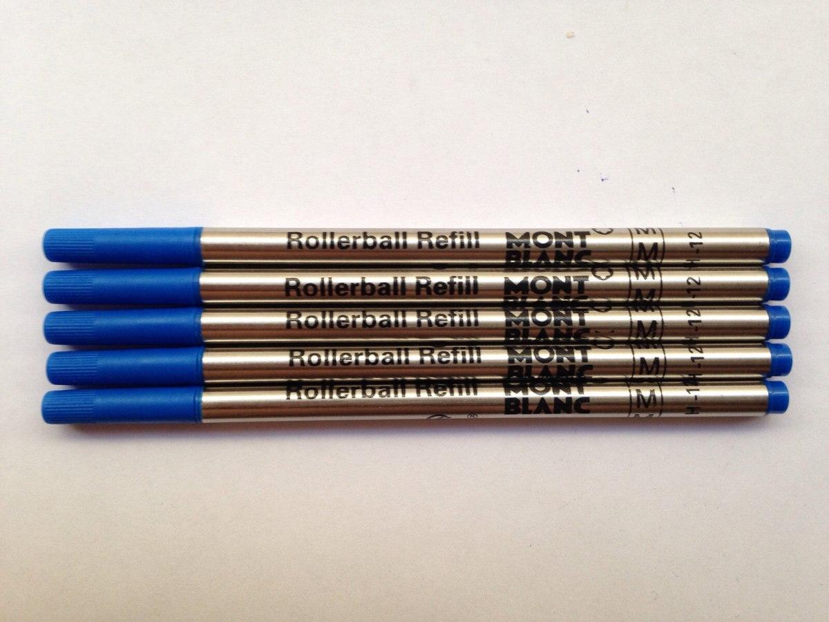 395cadd0ff6 Pack Com 5 Cargas Mont Blanc Azul Refil Caneta Rollerball M. - R  74 ...