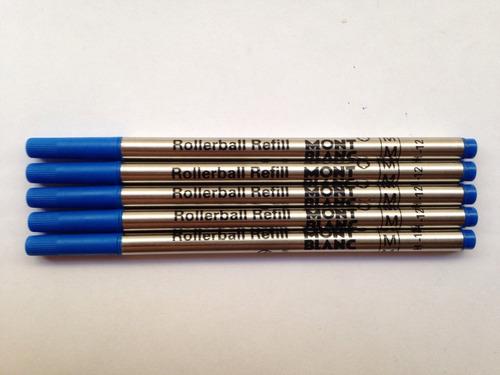 pack com 5 cargas mont blanc azul refil caneta rollerball m.